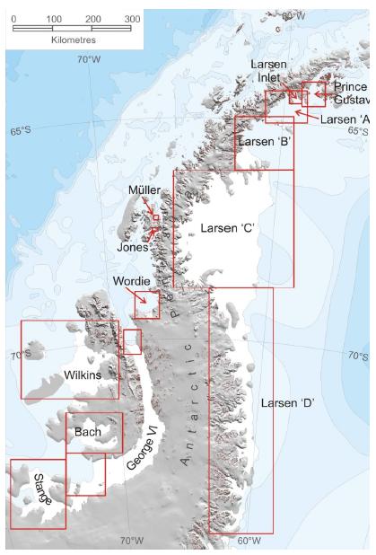 南极半岛及重要冰棚示意图南极半岛及重要冰棚示意图